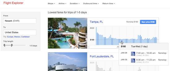 Google Flight Explorer screenshot